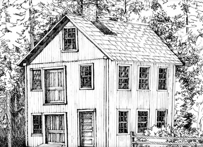 Brayton Grist Mill Pen and Ink 011